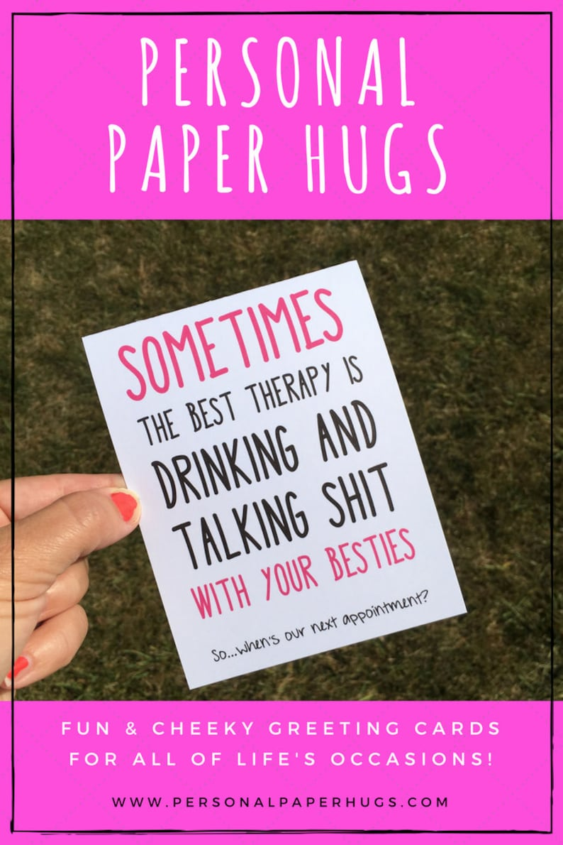 Funny Pink and Black Just Because Best Friend Greeting Card image 0