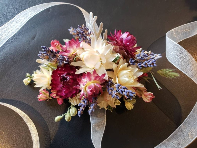 white Dried flower wrist corsage in tones of pink real dried flower wrist corsage cream gray and purple wedding mother corsage