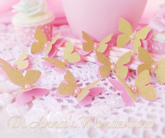 20 GOLD Butterflies Princess Party Decorations Candy Bar Table