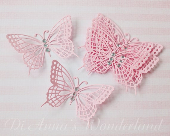 24x 3D paper butterflies BABY SHOWER Wedding Party table decorations  vintage