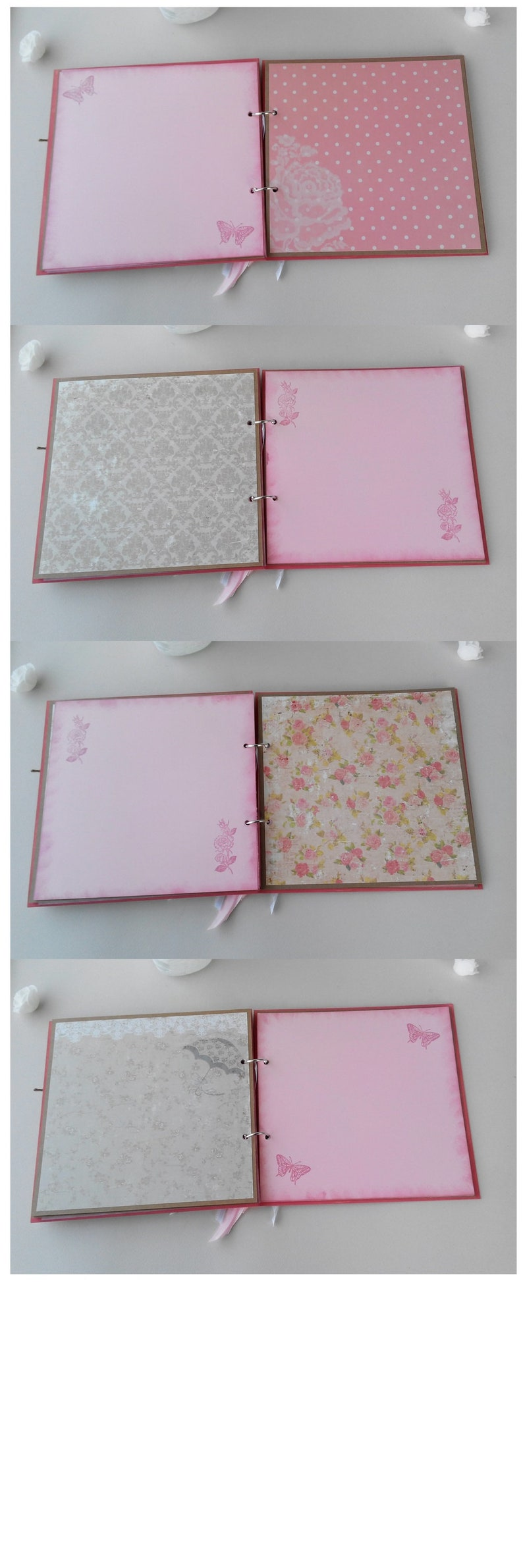 Wishes Book Baby Girl Shower Guest Book Pregnancy Journal Shabby Roses Chic Clothespin Christening Guest Book Baby Scrapbook