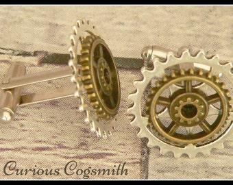 Cog Cuff Links - Steampunk Cuff Links - Steampunk Cufflinks - Cog Cufflinks - Silver Cuff Links - Bronze Cuff Links