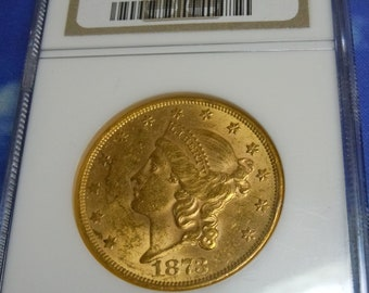 e6f32e8f3e4b 1873 Liberty Double Eagle Gold Open 3 MS60 US Mint Twenty Dollar NGC Graded  Coin