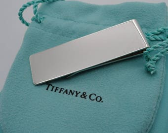 c35285d816d7 Rare Classic Tiffany Sterling Silver Money Clip with Turquoise Pouch