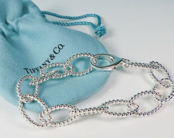 4267edc12 Rare Tiffany and Co. 925 Sterling Silver Twist Textured Rope Oval Link  Bracelet with Large Lobster Clasp Pouch n Box