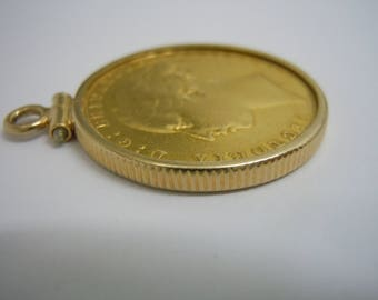 Sovereign pendant etsy rare 22kt gold 1874 s young head st george sydney australia mint gold sovereign coin bezel pendant charm aloadofball Image collections
