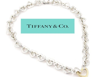 602852228 Rare Tiffany and Co. 925 Sterling Silver 18k Yellow Gold Open Heart Link Necklace  with Hidden Mystery Clasp Pouch n Box