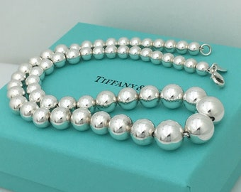 68dc8531028f8 Tiffany   Co Sterling Silver Bead Ball Graduated Bead Necklace with Blue Box