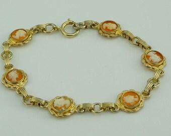 86c4236ca1c Carved MOP Cameo Bracelet White Gold Filled Link Bracelet