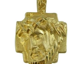 Solid 10k Yellow Gold Diamond-Cut Cross Pendant 20x11 mm