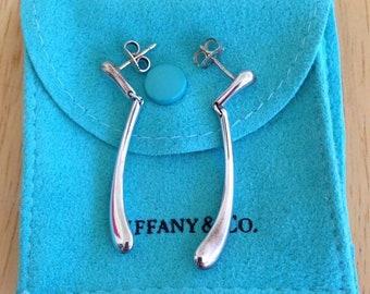 49bb9f213 Sterling Silver Tiffany Elsa Peretti Long Teardrop Dangle Earrings W Pouch