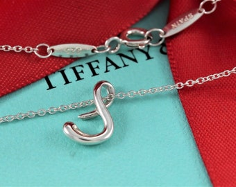 367b59b80 Tiffany and Co Sterling Silver Elsa Peretti Letter S Pendant Necklace  Alphabet Series with Box & Pouch