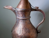 19th Century Arabic Antique Copper Dallah Coffee Pot Hand Hammered Crafted Middle Eastern 14 Inches