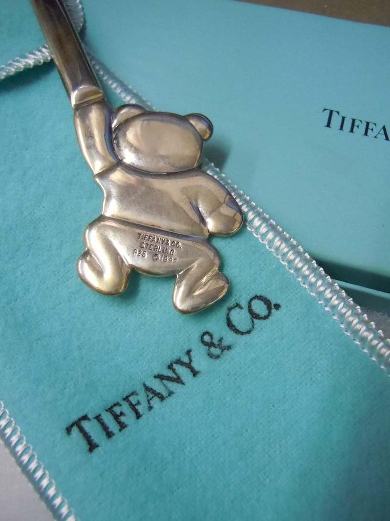 1992 Tiffany n Co Sterling Silver Teddy Bear Baby Spoon w Box