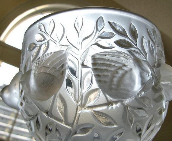 Lalique Elizabeth Vase Birds In Flight Frosted Crystal Bowl Etsy