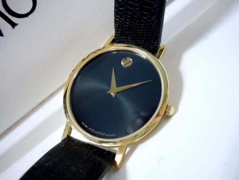 Classic Mens Movado Museum Watch 87 45 882 1 Gold Bezel Black Dial Original Box
