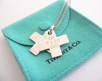Tiffany and Co. Silver 1837 Double Cross Necklace and Pendant
