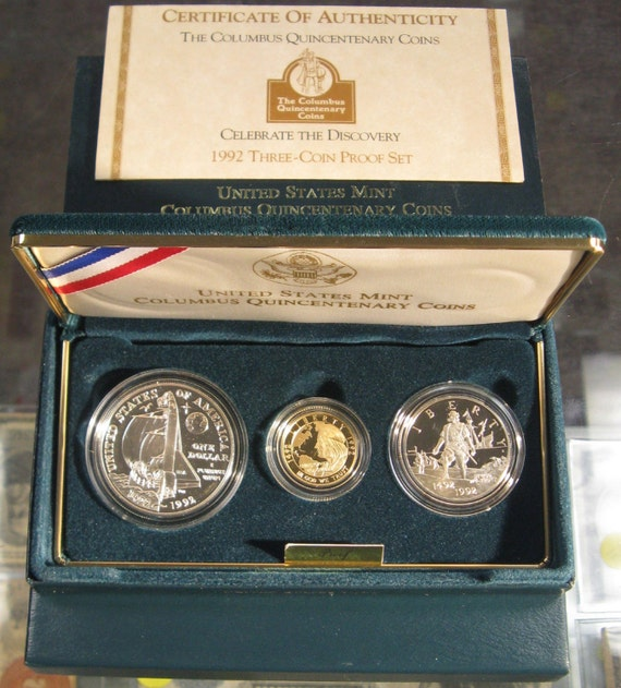 1992 P Columbus Quincentenary PROOF 90/% Silver Dollar US Mint $1 Coin ONLY