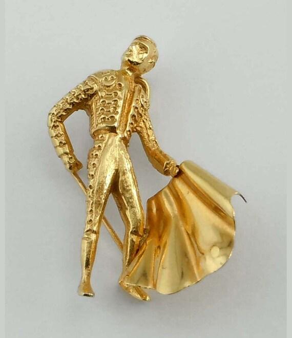 18Kt Yellow Gold Matador Pendant Charm 18K with Ca