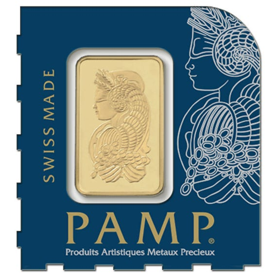 PAMP Suisse Lady Fortuna .9999 Fine Lot of 2-1 gram Gold Bar In Assay from