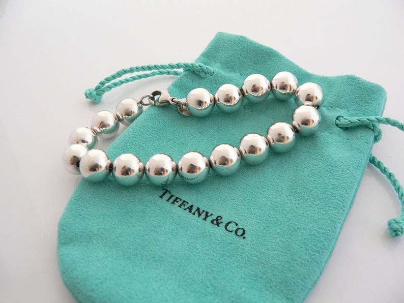 afd49db62 Vintage Tiffany & Co 10mm Sterling Silver Ball Bead Bracelet w | Etsy