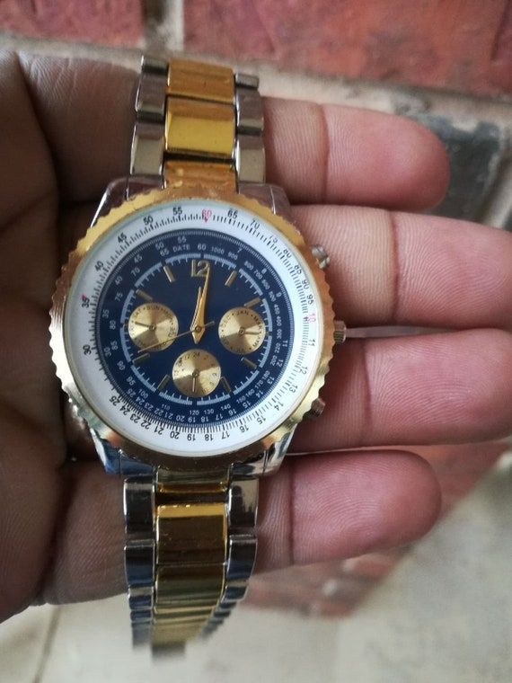 Mens Two Tone Stainless Steel Haband Chronograph W