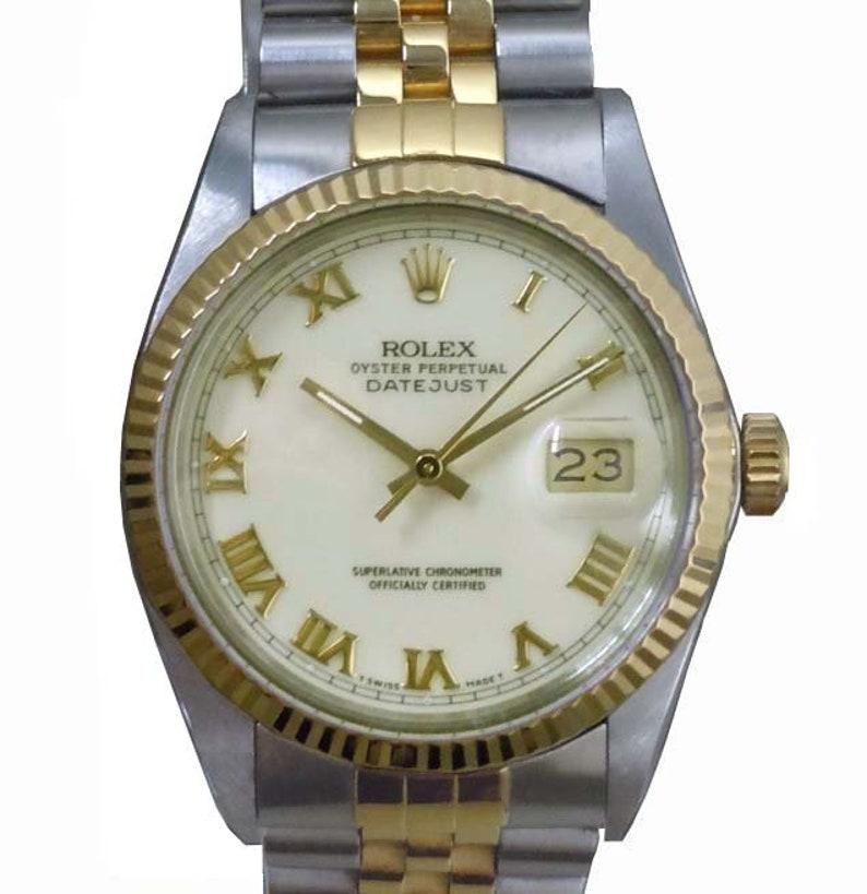 953d57c55f1 16013 Rolex Datejust Oyster römischen Creme Zifferblatt 18kt | Etsy