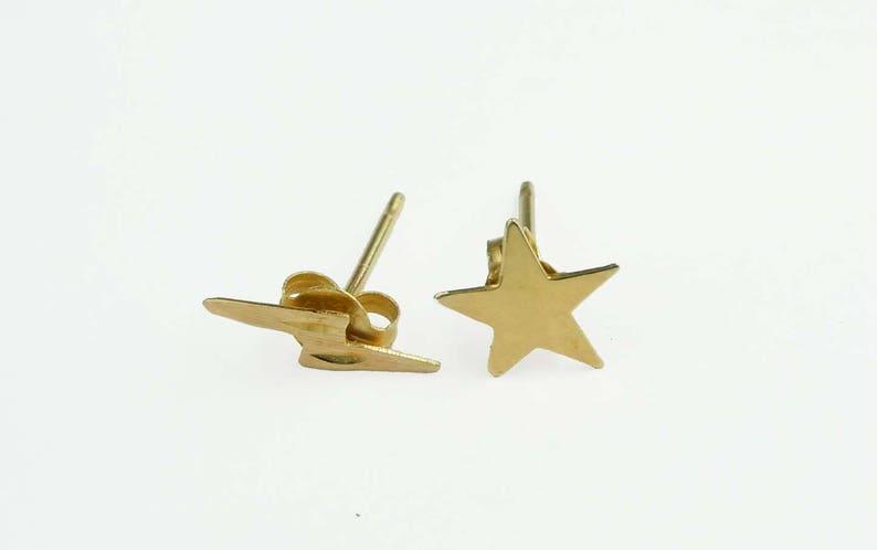 f200c9af4e4a Rayo oro amarillo 14kt y pendientes estrella en pulido y