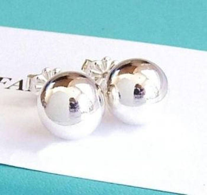 f2e77c2cb Tiffany and Co Sterling Silver 10mm Ball Bead Stud Earrings | Etsy