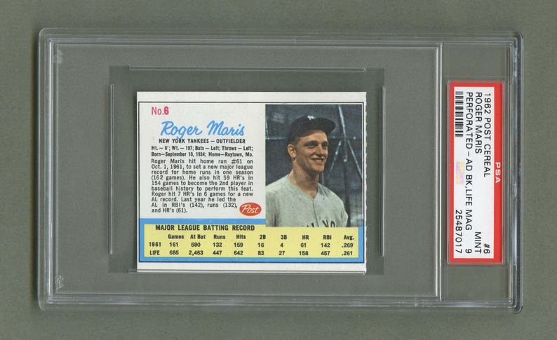 1962 Post Cereal Roger Maris Ad Back No 6 Psa Mint 9 Yankees Baseball Card Graded Coa