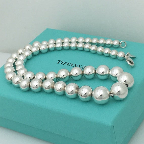 Tiffany Co Sterling Silver Graduated Bead Ball Necklace With Etsy