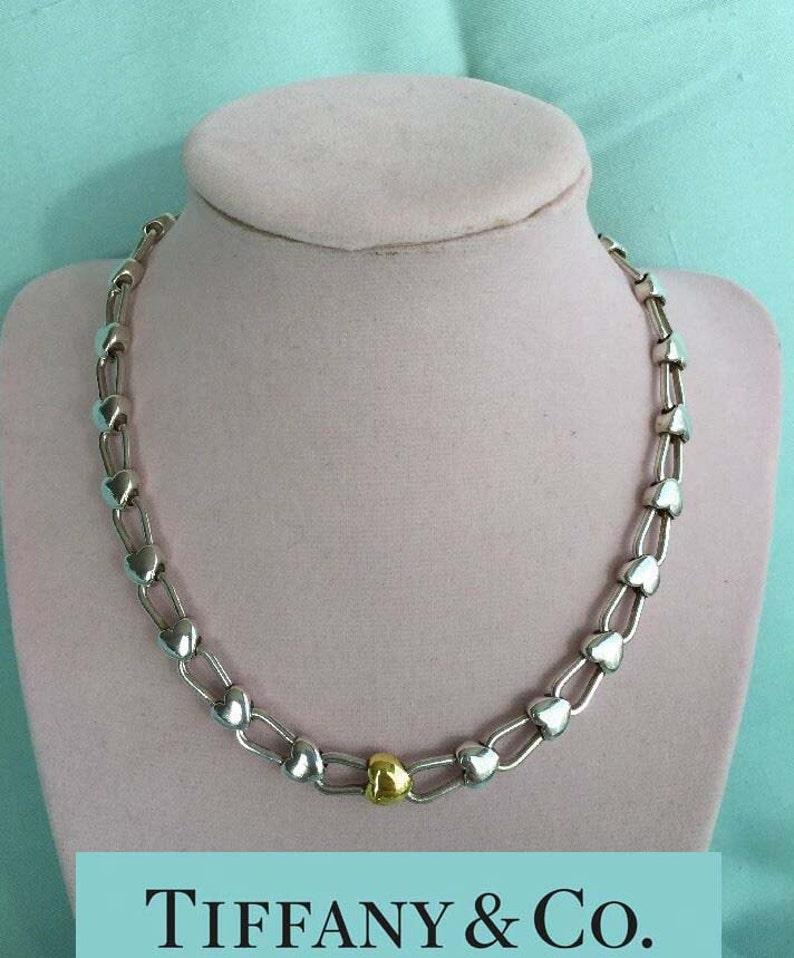 09b28686a Vintage Tiffany Sterling Silver 18kt Gold Heart Padlock Link   Etsy