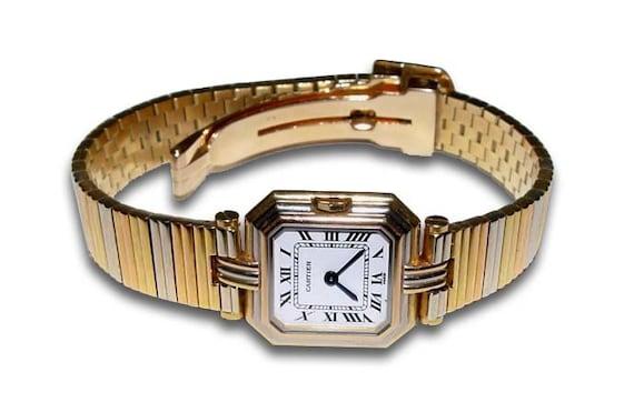 Cartier 18kt Tri Gold Wristwatch Ladies Watch 18k Trinity Dress Color v80NnOwmy