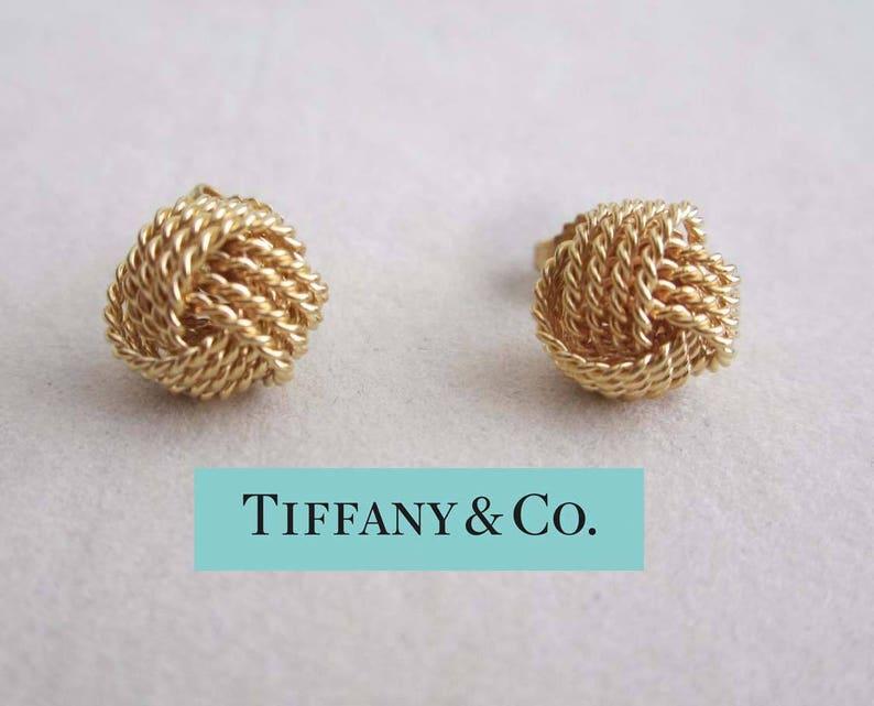adf3067e4 10mm Tiffany 18k Gold Somerset Love Knot Weave Twist Earrings | Etsy