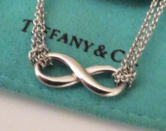 Tiffany Sterling Infinity Pendant Double Strand Necklace 16 In