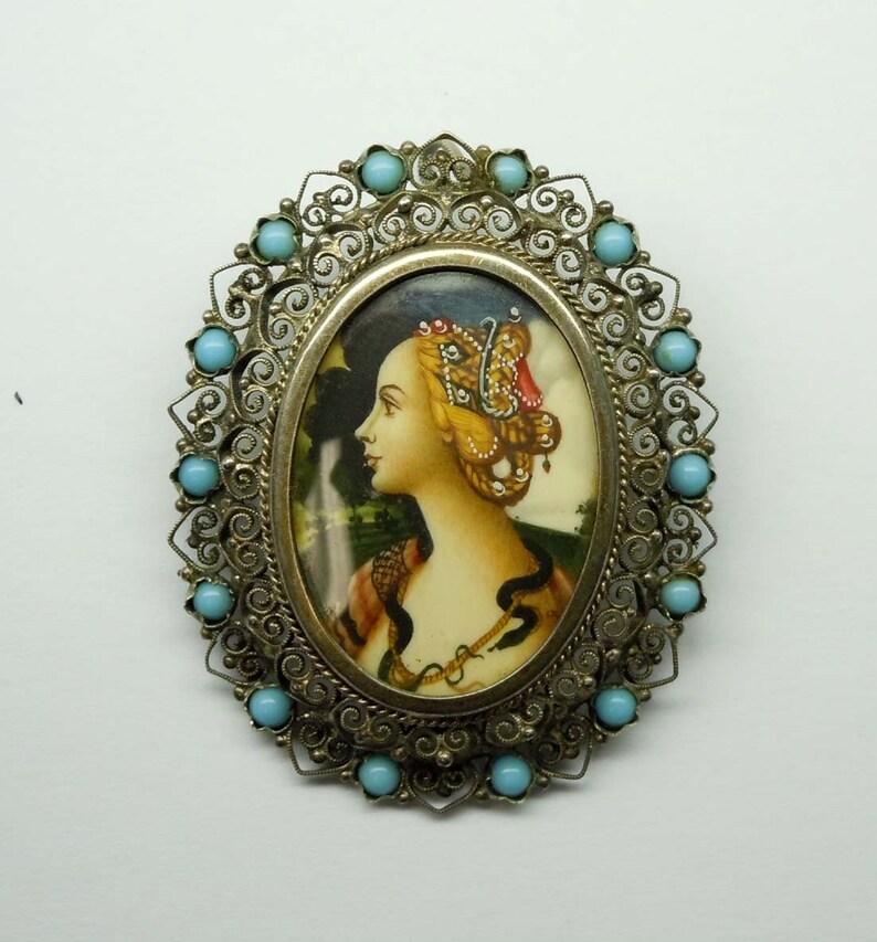8b351360f0f7 Mano Vintage adornado 800 plata filigrana color turquesa