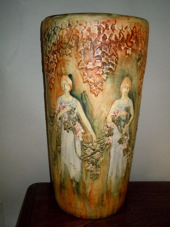 Rare Weller Pottery Flemish Umbrella Stand Women Holding Etsy