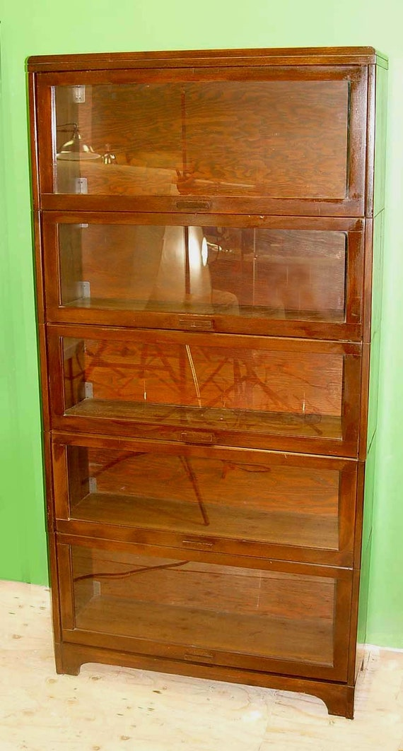 Lundstrom Mahogany Sectional Barrister Bookcase Shelf Wooden Wood