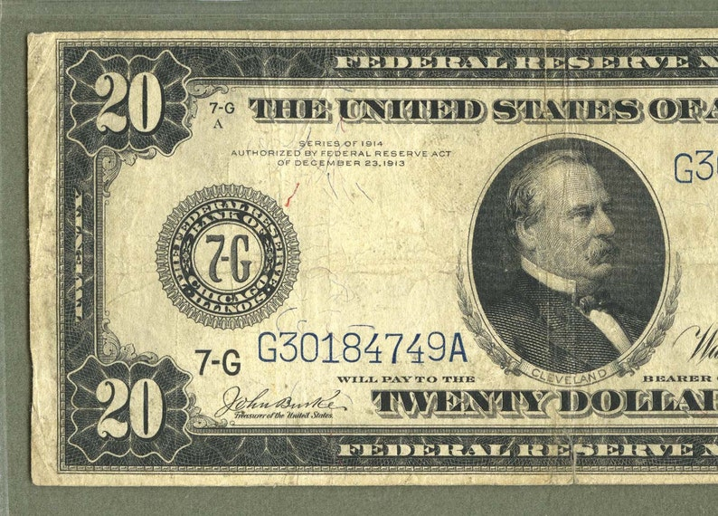 1914 Pmg Certified VF20 20 Dollar Federal Reserve Chicago Fr#990 Burke  Houston Fr990 Grover Cleveland Railroad and Steam Ship