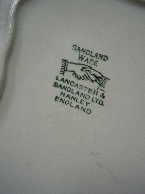 Lancaster /& Sandland English Ware Cheese Wedge Dish Silver Leaf Decor Hanley England