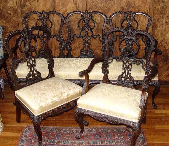 Antica sedia da banco Chippendale Sette e poltrona del XIX secolo