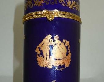 Limoges France Hinged Cobalt Blue Porcelain Jar With Gilt Embellishment Depicting Garden Courtship Frolic Scene Young Lovers