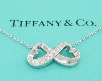 18kt Gold Diamond Tiffany Paloma Picasso Double Loving Heart Diamond Pendant Necklace