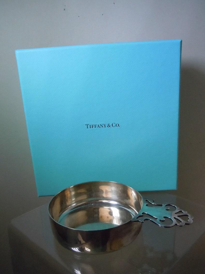 Tiffany Makers Sterling Silver Antique Style Porringer Bowl 213.1 Grammes avec poche - Boîte