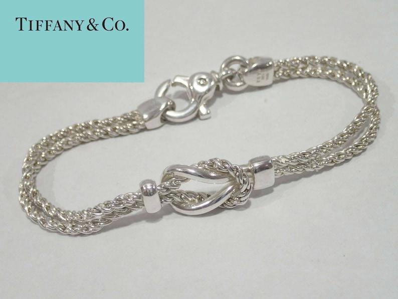 e5199daba Rare Classic Tiffany Silver Double Rope Love Knot Bracelet | Etsy