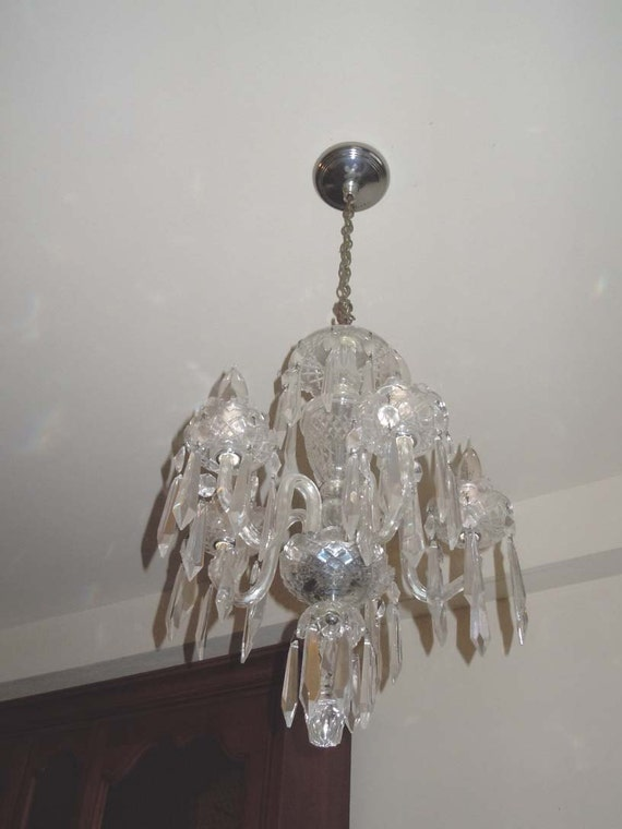 Waterford crystal 5 arm chandelier ceiling fixture light etsy image 0 aloadofball Images