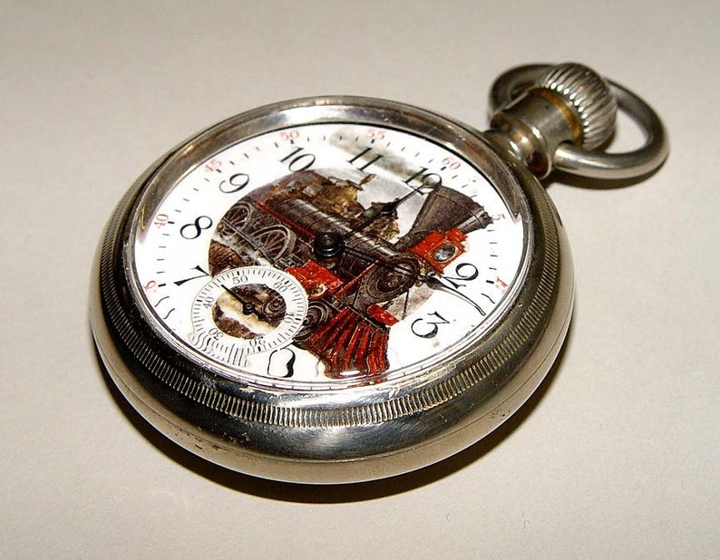 1883 American Waltham Railroad Pocket Watch Locomotive Enamel Dial Size 18