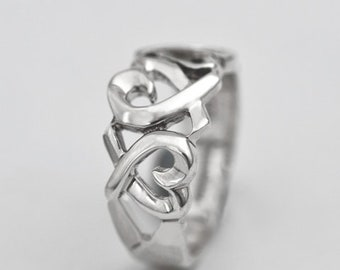 Sterling Silver Tiffany Paloma Picasso Loving Hearts Ring Size 7-1/2 with Pouch