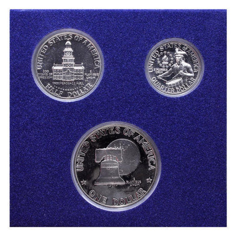 1976 S Proof Set 3 Piece Bicentennial Ike Kennedy Washington 40/% Silver US Coins