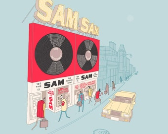 Sam the Record Man, second edition giclee print